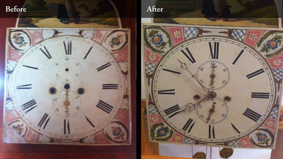 Before and after of clock dial restoration