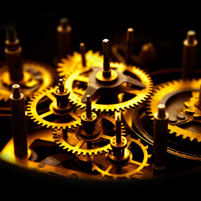 Golden gears from an old clock
